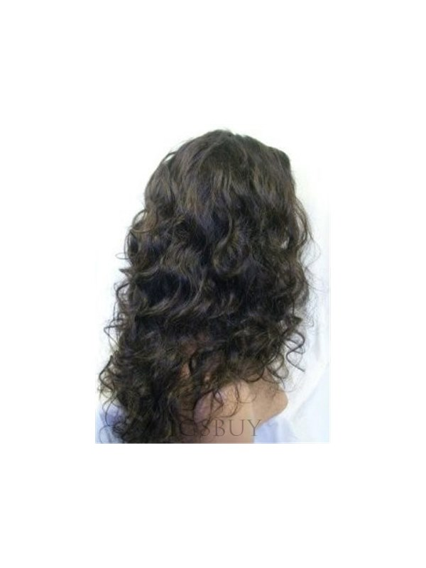 150% Hair Density Custom High Quality Human Hair Sexy Charming Long Wavy Brown Full Lace Wig 20 Inches