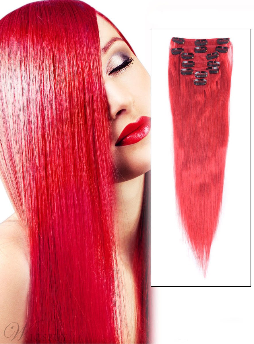 Straight Red 7PCS Clip in Remy Human Hair Extensions