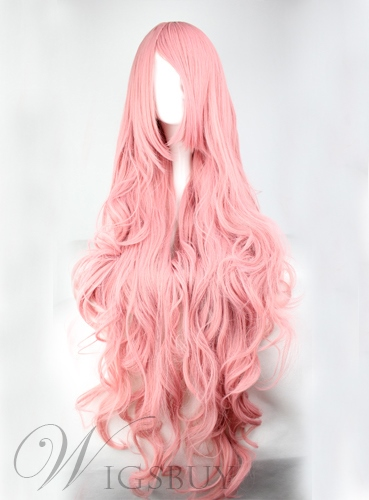 Pink Natural Curly Capless Halloween Wig Synthetic Hair Super Long 30 Inches