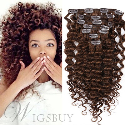 Cute Girl Kinky Curly 7 pcs Clip In Human Hair Extensions
