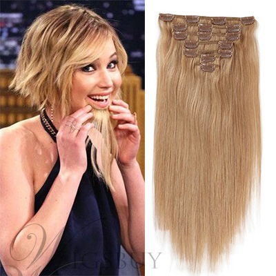 Jennifer Lawrence Bob Hair Style 7 PCS Clip In Human Hair Extensions