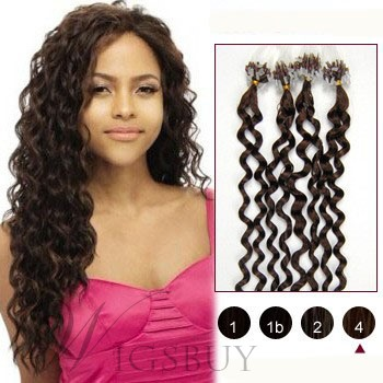 Medium Brown(#4) Curly Micro Loop Human Hair Extensions