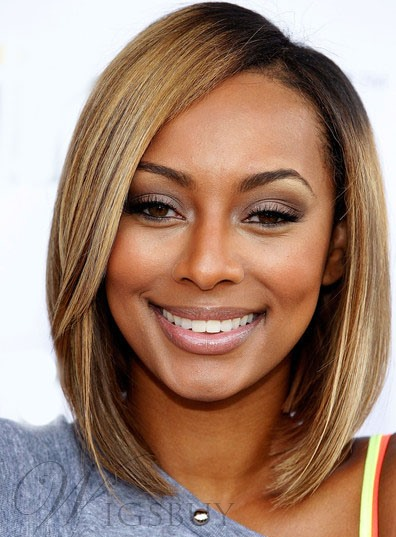 Keri Hilson Natural Bob Hairstyle Medium Straight Lace Wig 100% Human Hair 10 Inches