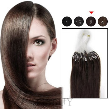 100s 1g/s Micro Loop Ring Human Hair Extensions (#2 Darkest Brown)