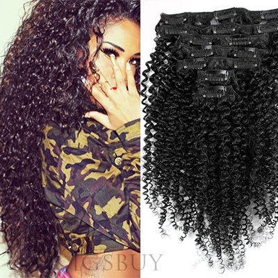 Sexy Kinky Curly 7 pcs Clip In Human Hair Extensions