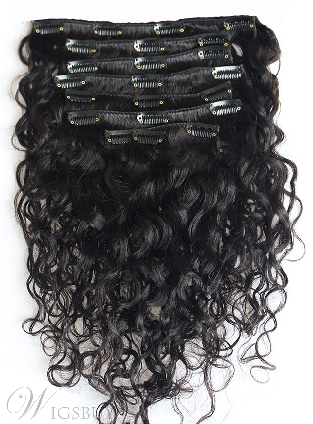 Clip In Beautiful Long Curly 100% Human Hair 7 PCS Clip In Hair Extension