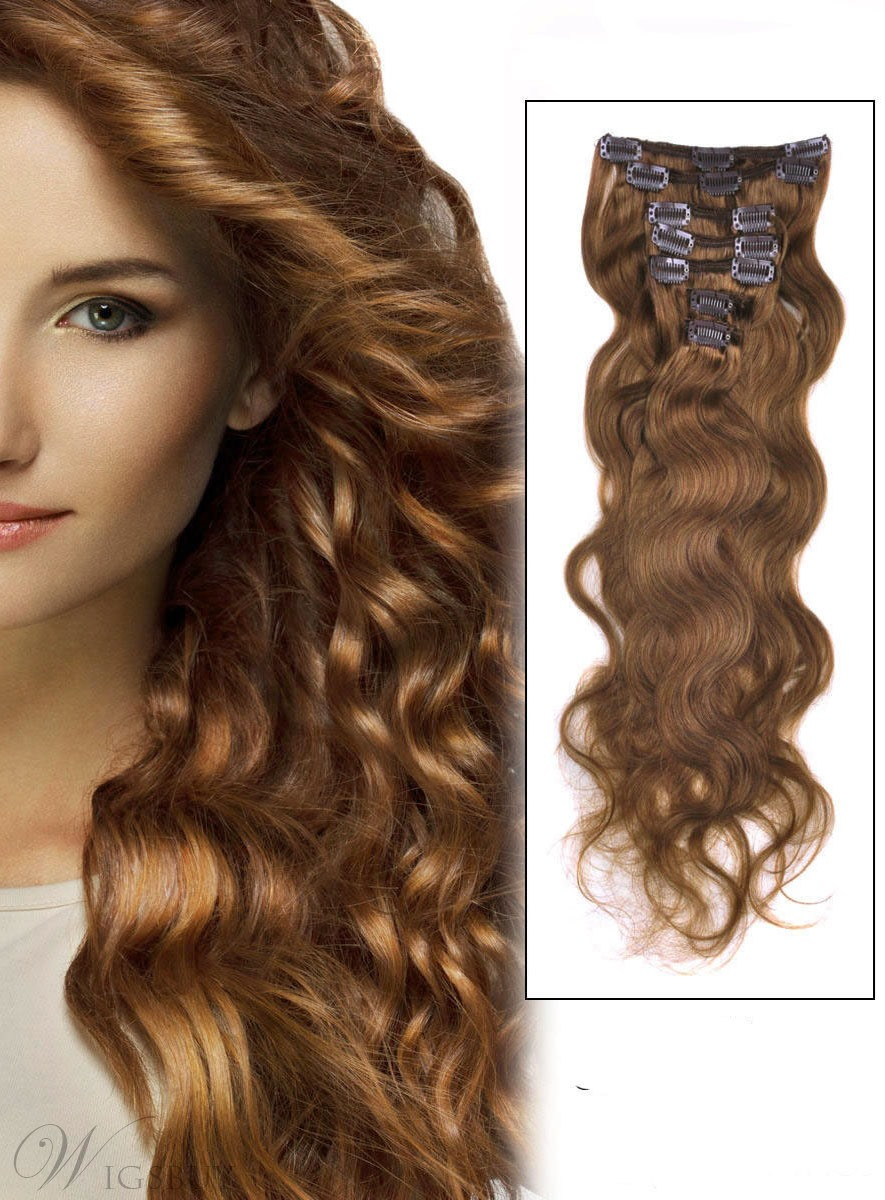 Wavy Light Chestnut 8 7pcs Clip In Remy Human Hair Extensions