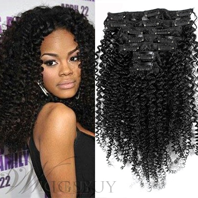 Clip In Teyana Taylor Style Popular Kinky Curly 7 PCS Clip In Human Hair Extensions
