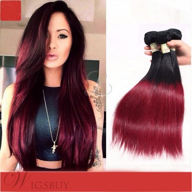 1B/30 Ombre Brazilian Hair Straight Virgin Human Hair Wefts 3 Packs