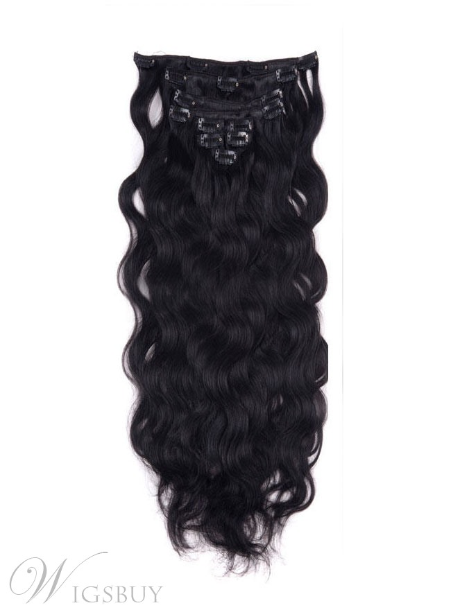 Wavy Jet Black 9pcs Clip In Remy Human Hair Extensions 100g Wigsbuy