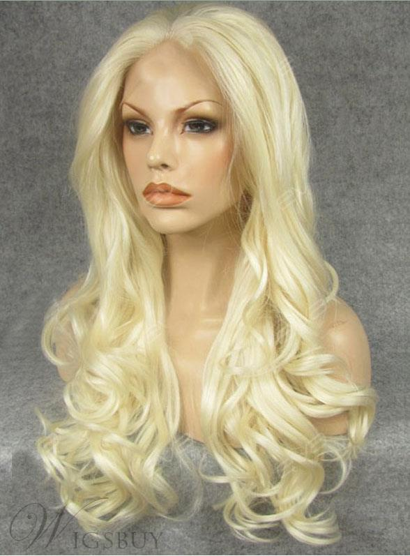 Natural Long Curly Beautiful Blonde Lace Front Wig Synthetic Hair 24 Inches