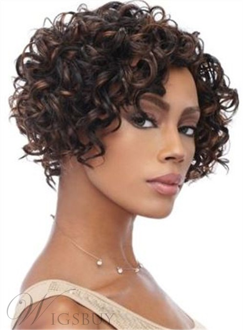 Short Bob Curly African American Women Front Lace Remy Human Hair