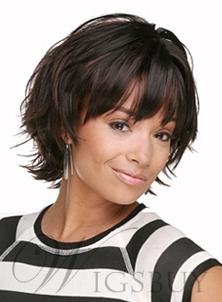 Heavy Layered Hairstyles Short Straight Black Wig: Wigsbuy.com