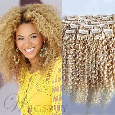 Sexy and hot beyonce hairstyle clip on real hair extension curly 84 sexy and hot beyonce hairstyle clip on real hair extension curly 100 human hair 9pcs pmusecretfo Images