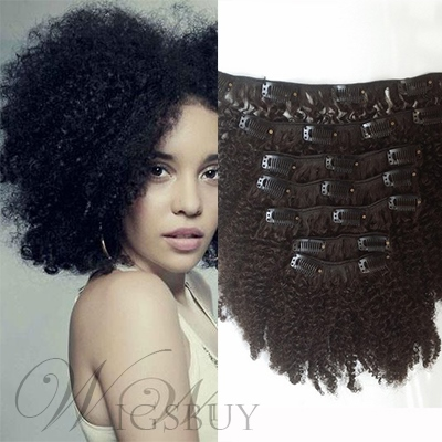 Clip In African American Fashion Human Hair Kinky Curly 7 PCS Clip In Hair Extension 1 PC