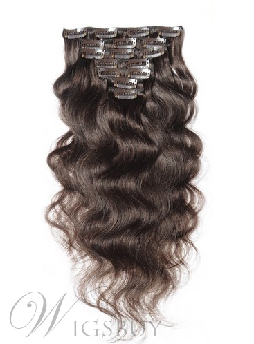 Clip In 7 PCS Sexy India Remi Human Hair Body Wave Hair Extensions