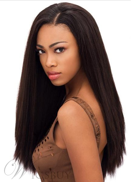 New Arrival Fabulous African American Hairstyle Long Yaki Straight Full Lace Wig 100% Indian Human Hair 20 Inches