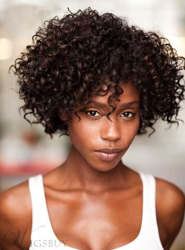 Fine Short Curly Mixed Color Capless Wig 100 Human Hair 12 Inches For Short Hairstyles Gunalazisus