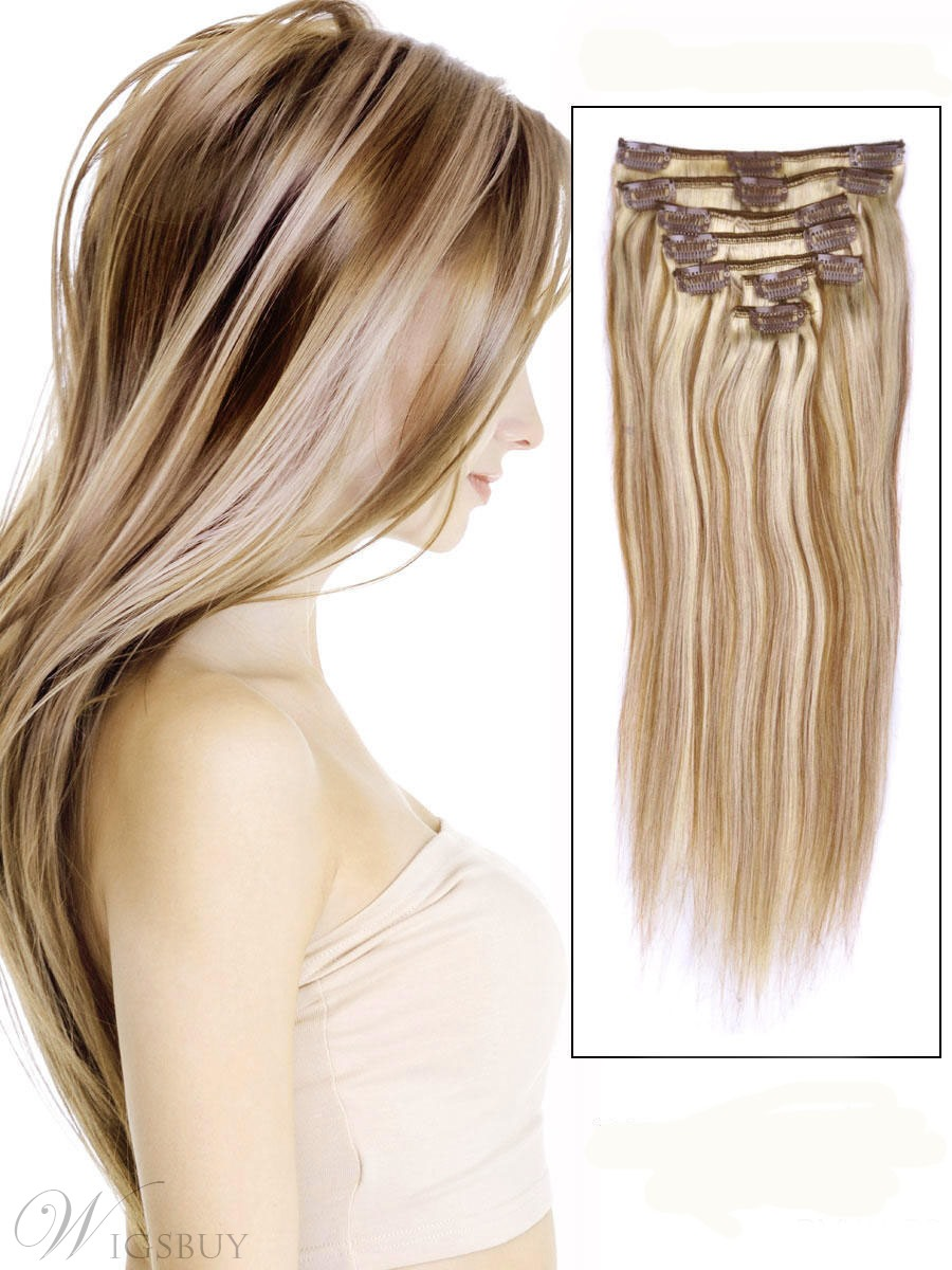 Straight 7PCS Clip in Remy Human Hair Extensions 100g