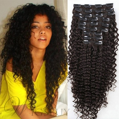Top Quality Clip in Brazilian Hair Curly 100% Human Hair For Full Head