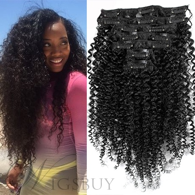 Black Women Kinky Curly 7 pcs Clip In Human Hair Extensions