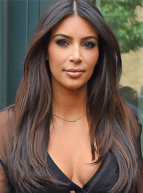 Kim Kardashian Middle Parting Long Straight Lace Front Human Hair Wigs 24 Inches
