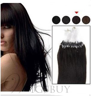 Straight Black (#1) 100S Human Hair Micro Loop Ring Hair Extensions