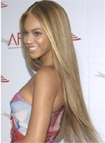 Classical Glossy Attractive Beyonce's Long Straight Lace Front Wig 100% Real Human Hair 24 Inches