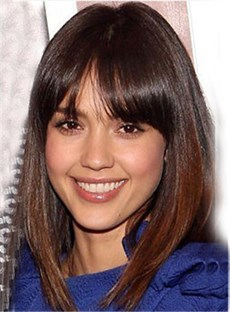 Jessica Alba Hairstyle Medium Straight 14 Inches Shining Natural Wig