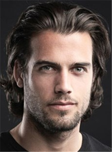 Fashion Men's Hairstyle Short Wavy Lace Front Wig 100% Human Hair 10 Inches