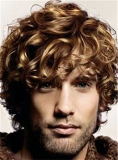 Cool Short Curly Ash Brown Full Lace Wig 100% Human Hair 8 Inches for Men's wig