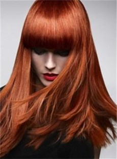 New Red Long Straight Wig With Full Bangs Synthetic Hair 16 Inches