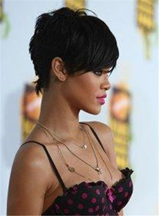 Custom Rihanna's Unique New Short Elegant Hairstyle 100% Human Remy Hair Perfect Short Black Wig