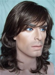 Medium Curly Synthetic Hair Wigs For Men 12 Inches