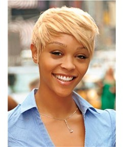 #16 Gloden Blonde Super Short Full Lace Wig 100% Human Hair for Black Women