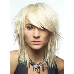 613 Medium Straight Layered With Bangs Synthetic Hair 12 Inches