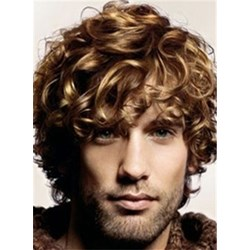 Cool Short Curly Ash Brown Full Lace Wig 100% Human Hair 8 Inches for Mens wig
