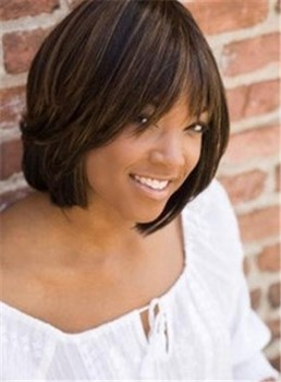 Mixed Color Wigs for Black Women Monofilament Top Short Straight Bob Hairstyle 10 Inches