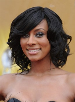 Keri Hilson Custom Hand Tied 100% Human Hair Romance Curly 12 Inches Black Wig