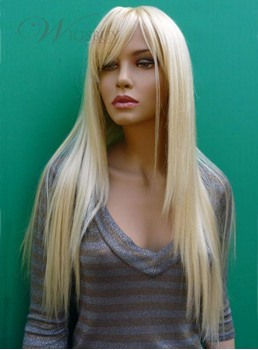 Hot Sale Long Silky Straight Blonde Real 100% Virgin Indian Human Hair 24 Inches Wig