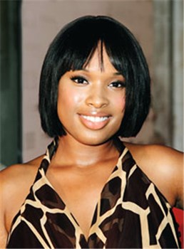 Custom Jennifer Hudson's Hairstyle Amazing Short Straight Black Wig 10 Inches Top Quality 100% Human Remy Hair