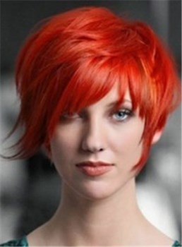 Heat Resistant Hair Red Capless Wig Short Straight