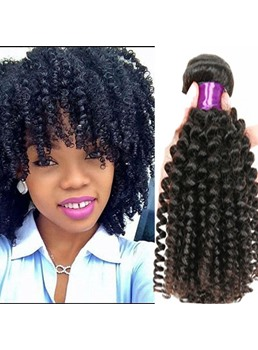 Human Hair Weave Brazilian Human Hair Kinky Curly Hair Weft 1 PC for Black Women