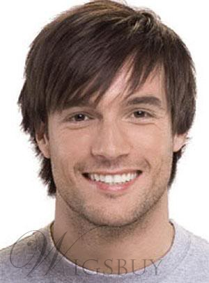 Mens Wig Short Straight Synthetic Hair Capless