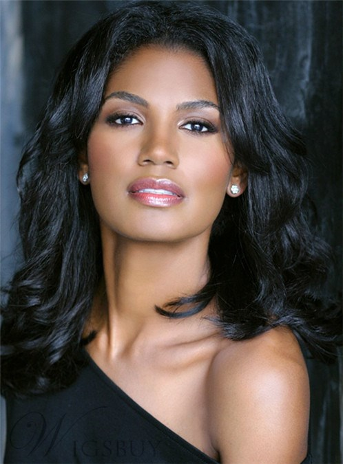Monofilament Top 100% Human Hair 16 inches Long Wave Wig for Black Women