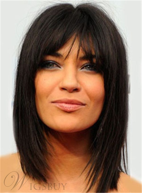 Fine Natural Black Medium Straight With Bangs 12 Inches Heat Resistant Hairstyle Inspiration Daily Dogsangcom