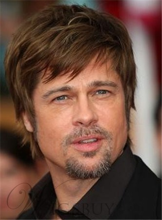 Brad Pitt Mixed Color With Ash Brown Highlight Short Straight 100% Human Hair Monofilament Top Wig