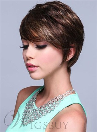 Adorable Short Straight Capless Human Hair Wig 8 Inches