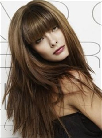 Long Straight Capless Wig 18 Inches 100% Human Hair With Full Bangs
