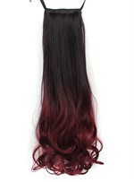 Long Wave Wine Red Lace Up Synthetic Ponytail 22 Inches